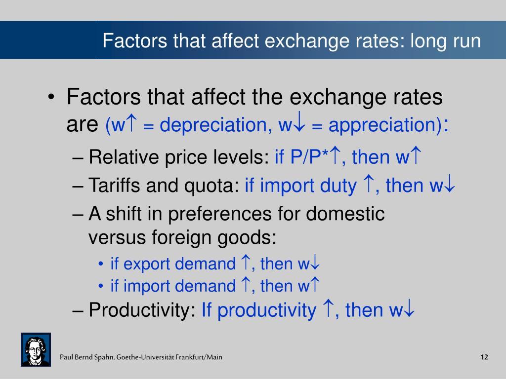 Factors that affect exchange rates: long run