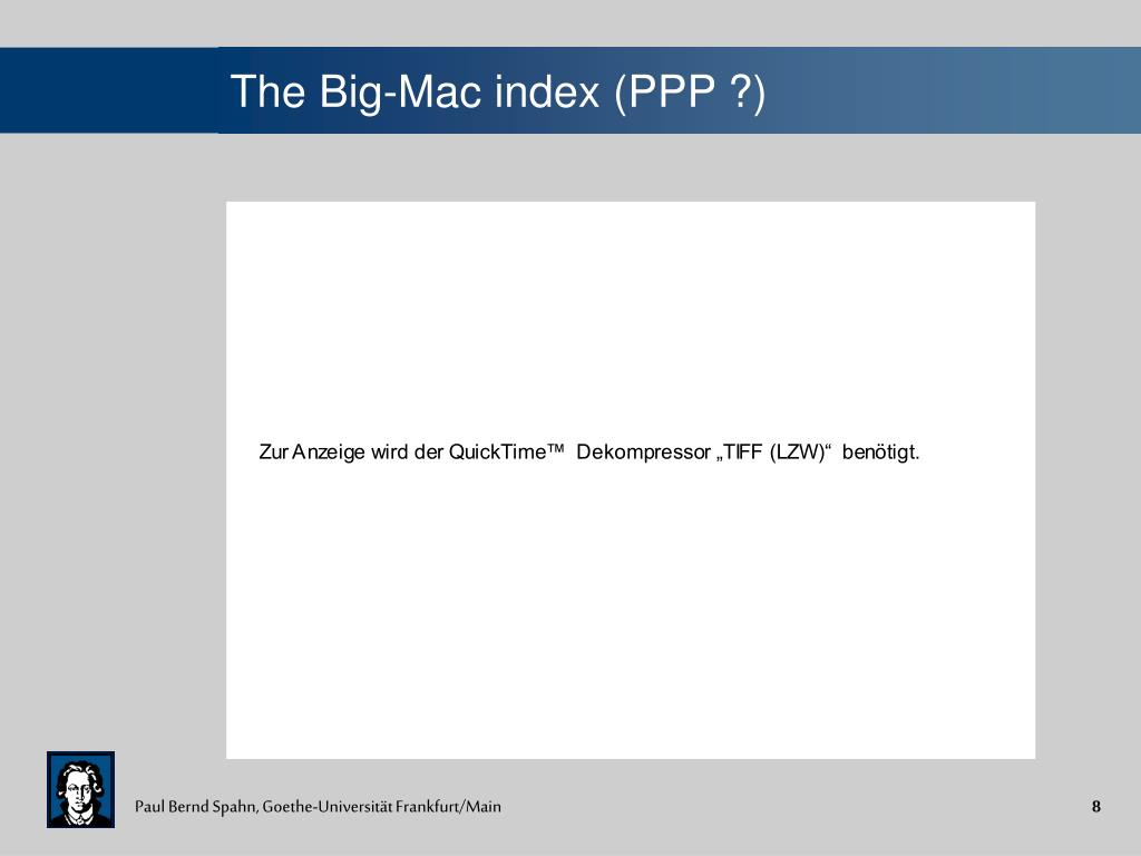 The Big-Mac index (PPP ?)