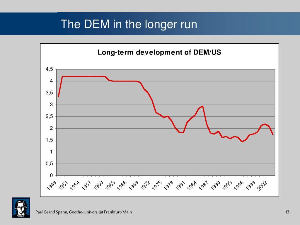 The DEM in the longer run