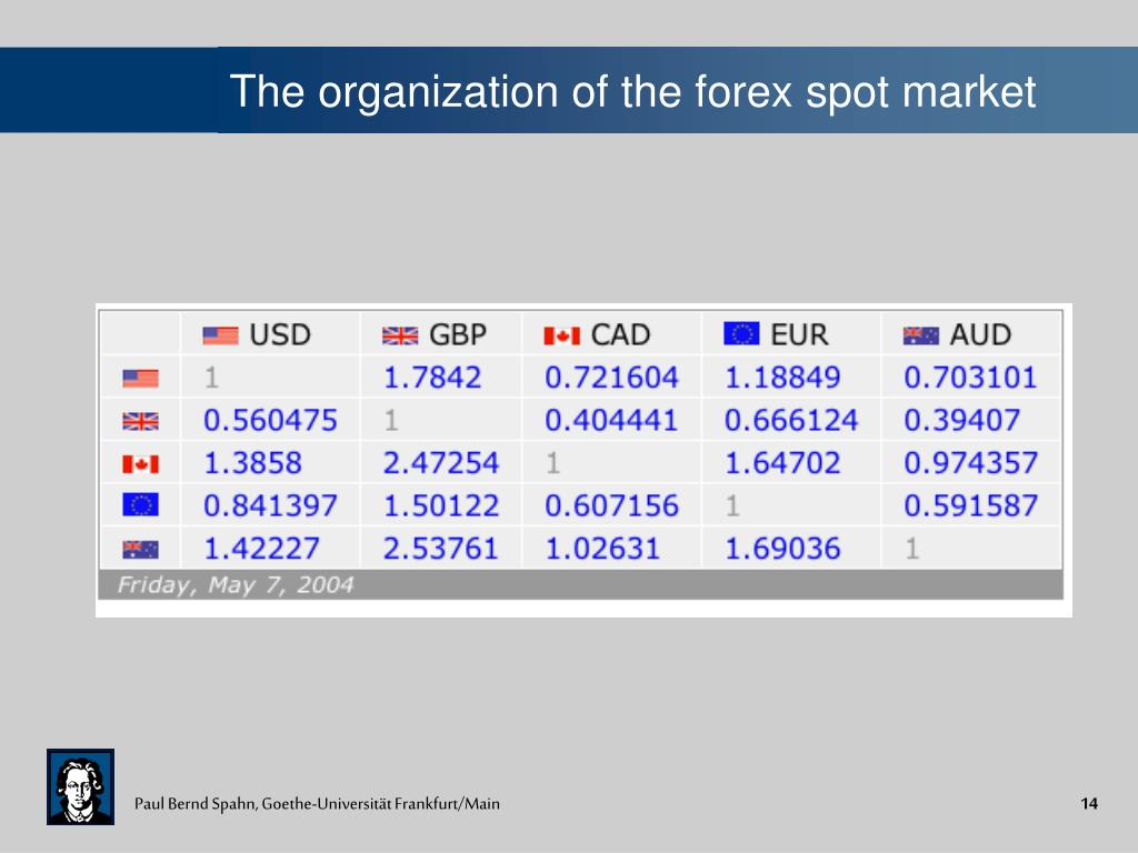 The organization of the forex spot market