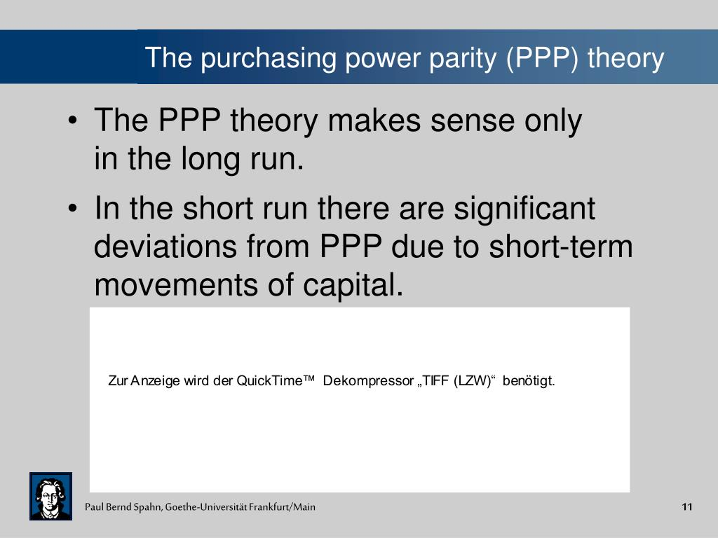 The purchasing power parity (PPP) theory