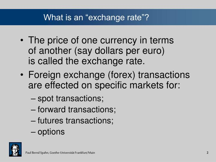 What is an exchange rate