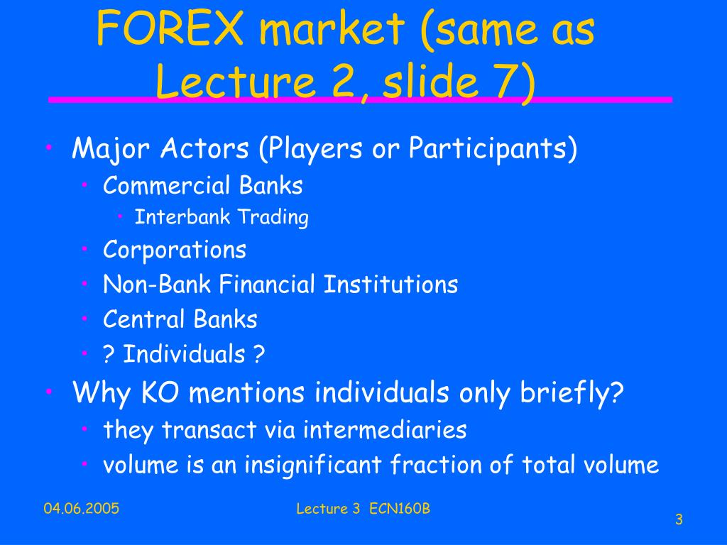 FOREX market (same as Lecture 2, slide 7)