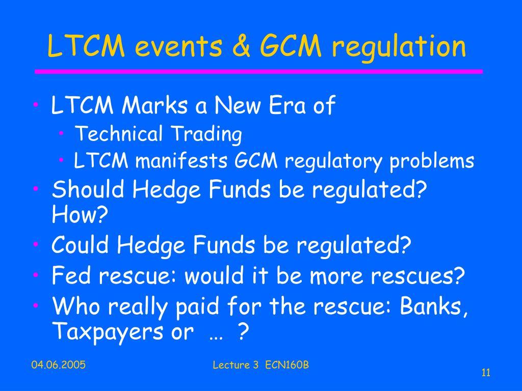 LTCM events & GCM regulation