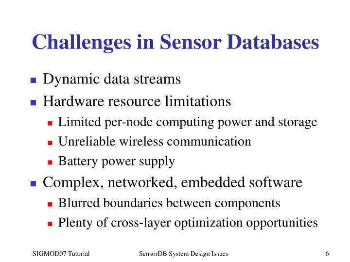 Challenges in Sensor Databases