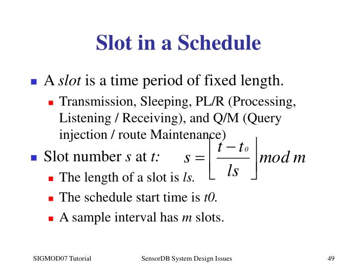 Slot in a Schedule