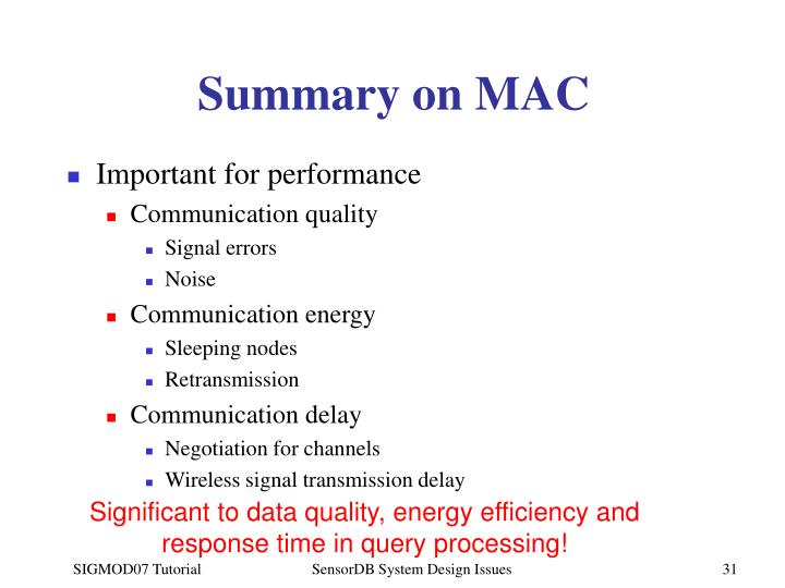 Summary on MAC
