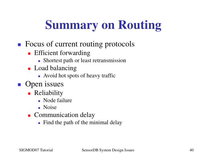 Summary on Routing