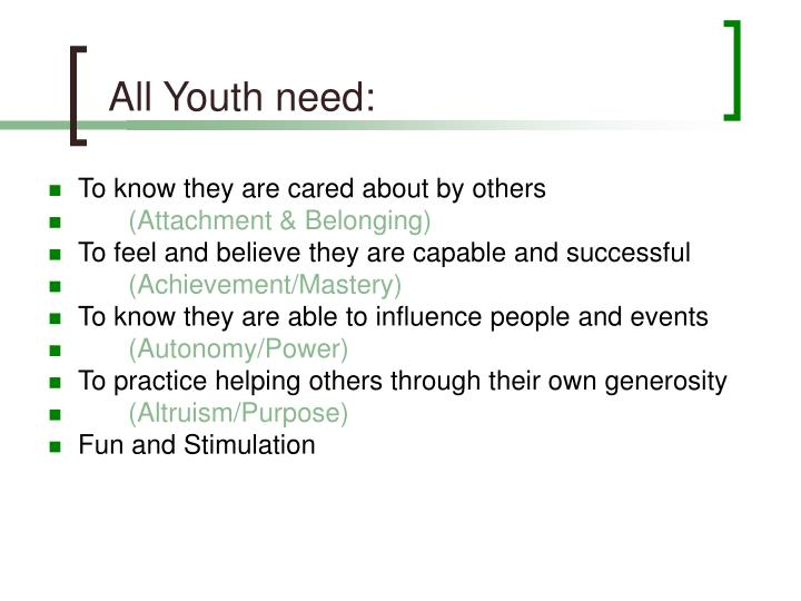 All Youth need: