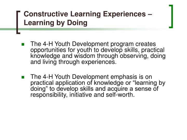 Constructive Learning Experiences