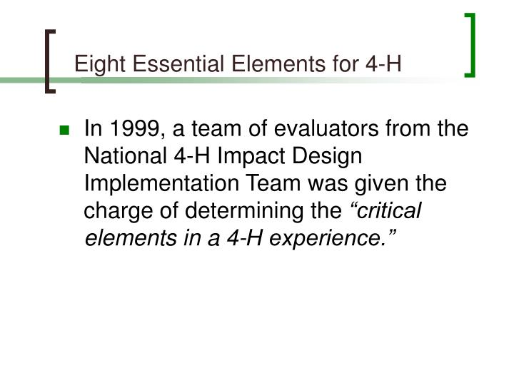Eight Essential Elements for 4-H
