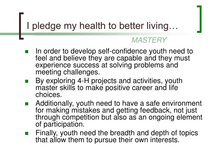 I pledge my health to better living…