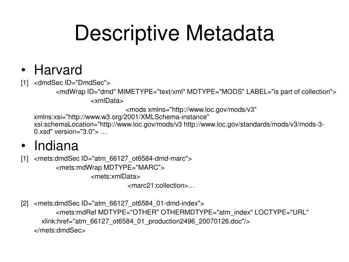Descriptive Metadata