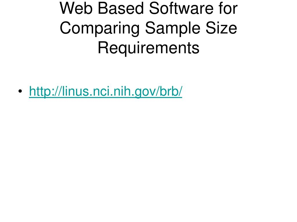 Web Based Software for Comparing Sample Size Requirements