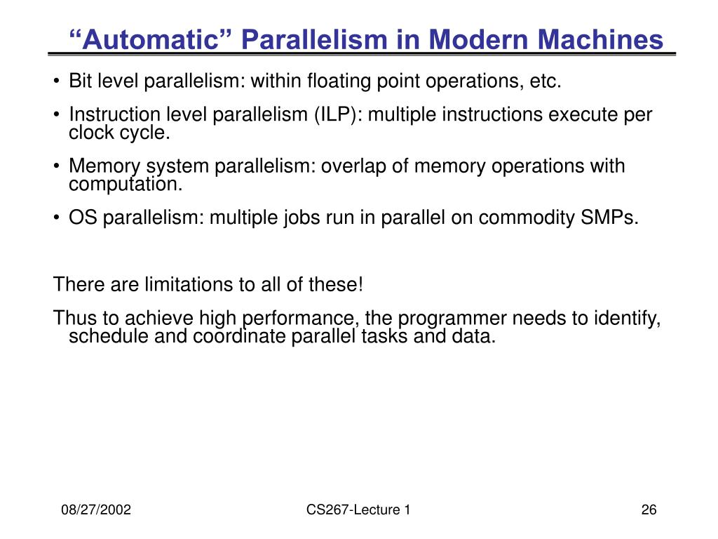 """Automatic"" Parallelism in Modern Machines"