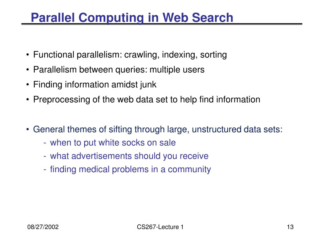Parallel Computing in Web Search