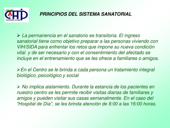 PRINCIPIOS DEL SISTEMA SANATORIAL