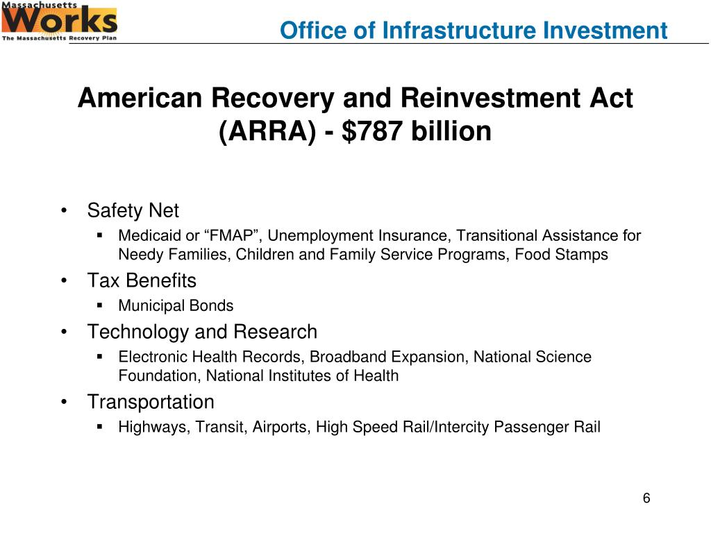 American Recovery and Reinvestment Act (ARRA) - $787 billion