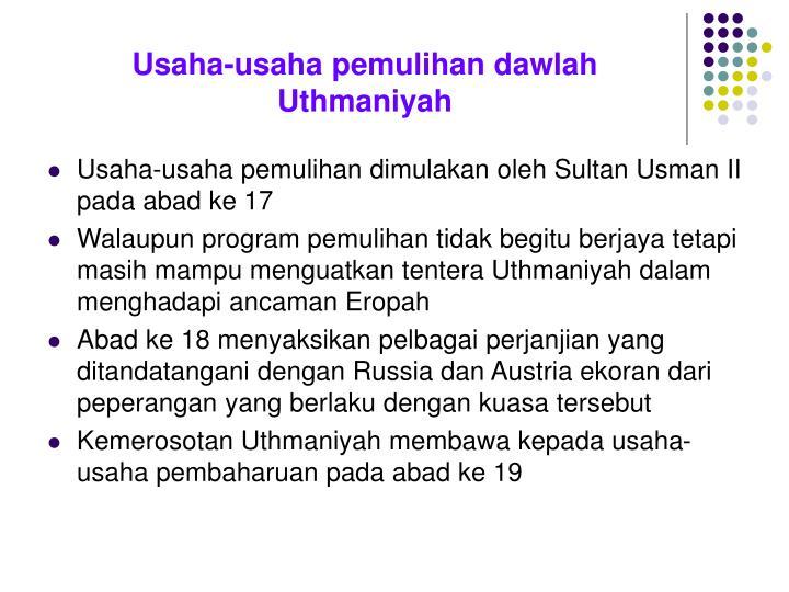 Usaha-usaha pemulihan dawlah Uthmaniyah