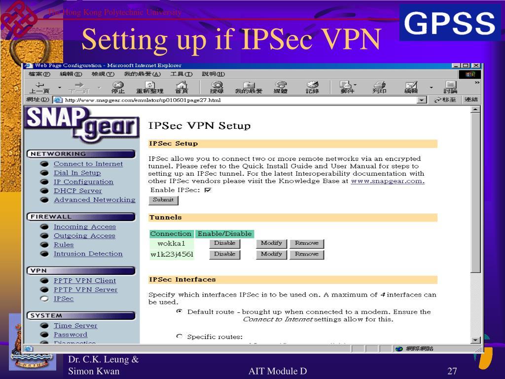 Setting up if IPSec VPN