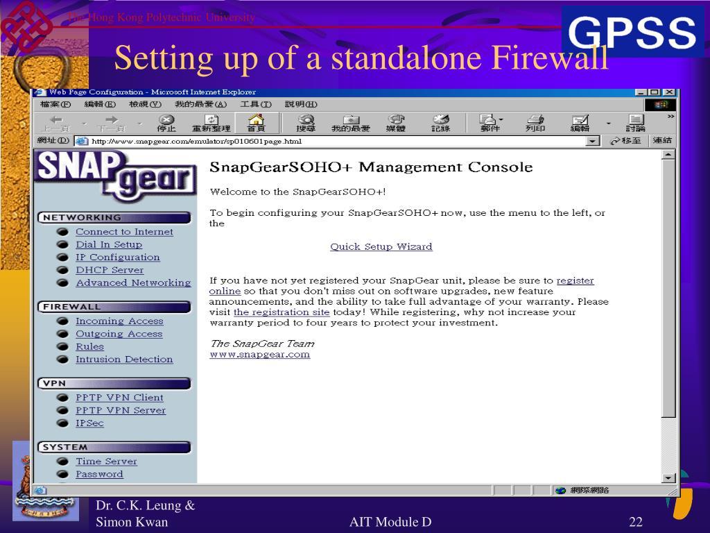 Setting up of a standalone Firewall
