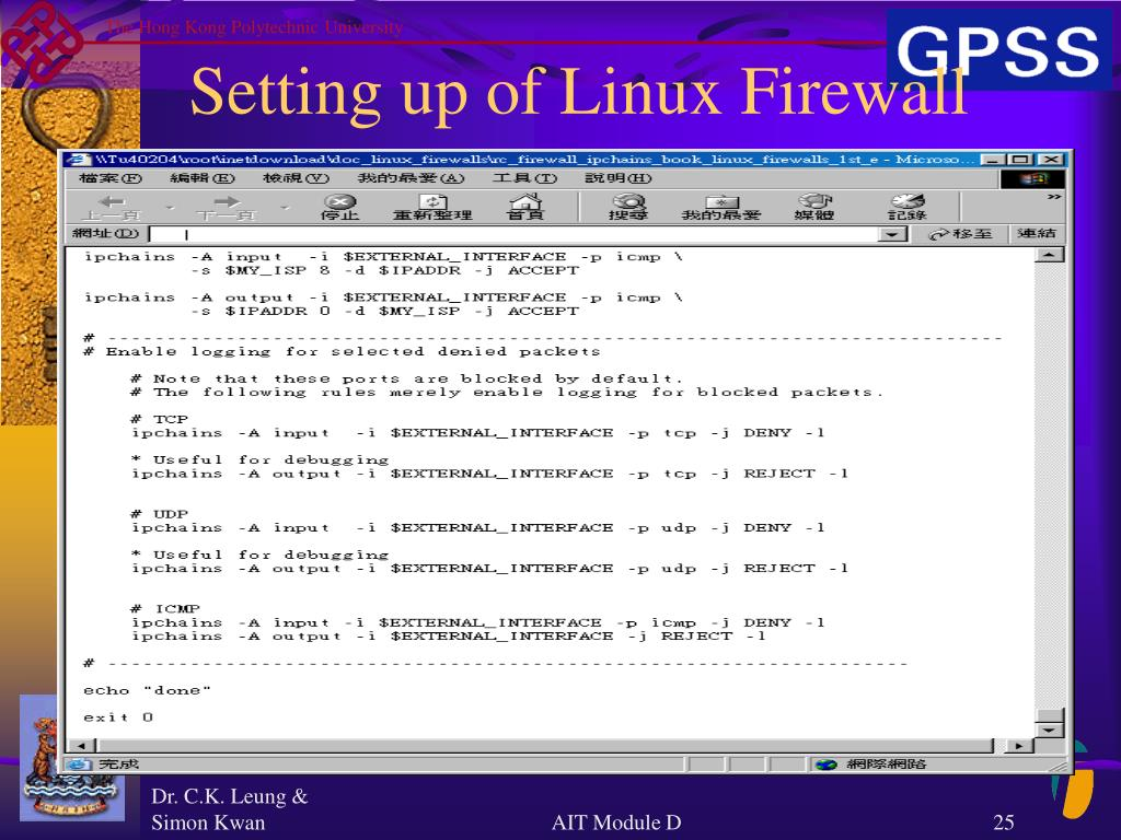 Setting up of Linux Firewall