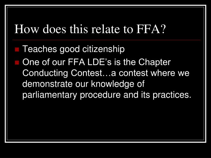 How does this relate to FFA?