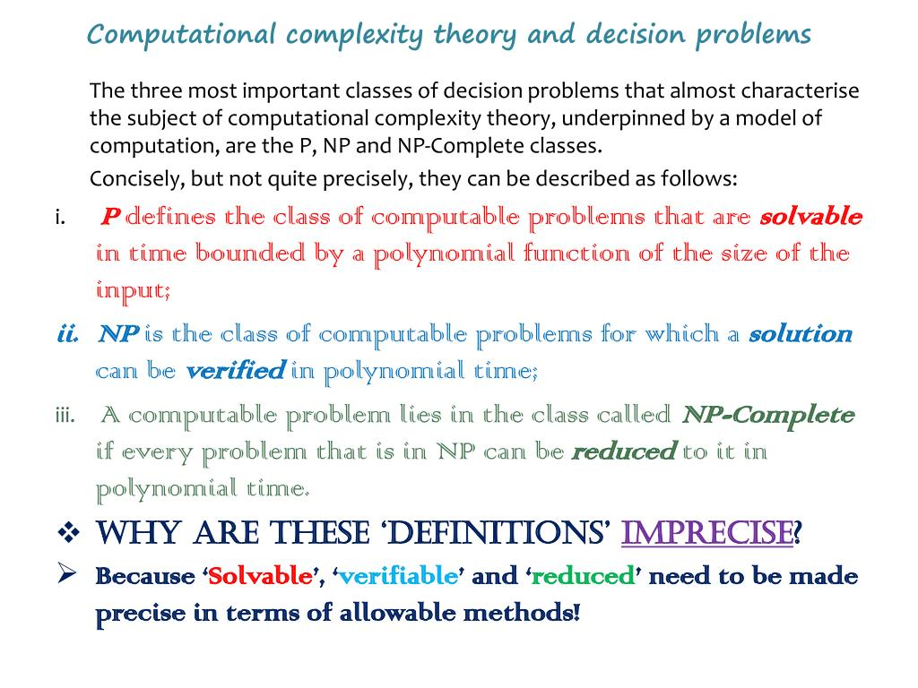 Computational complexity theory and decision problems