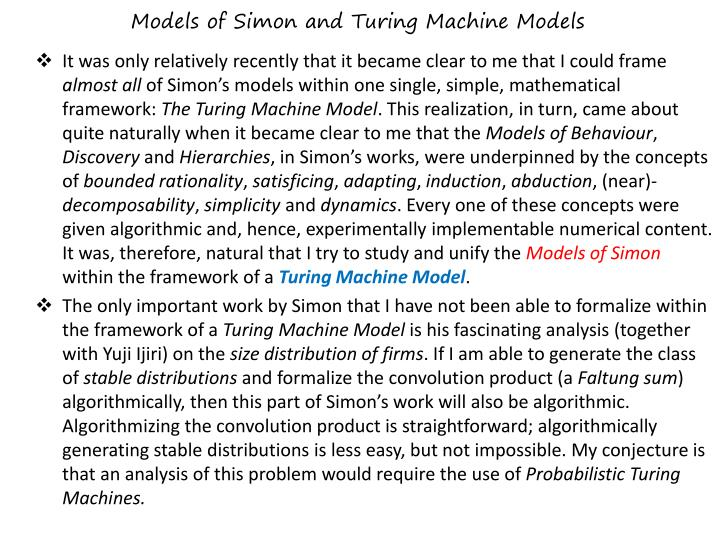 Models of simon and turing machine models