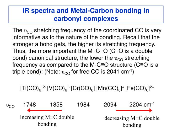 IR spectra and Metal-Carbon bonding in carbonyl complexes