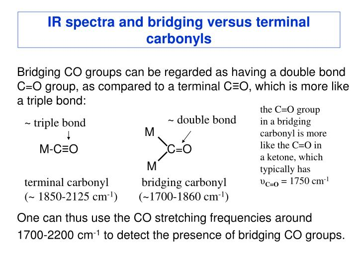 IR spectra and bridging versus terminal carbonyls