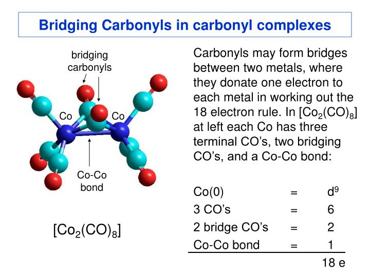 Bridging Carbonyls in carbonyl complexes