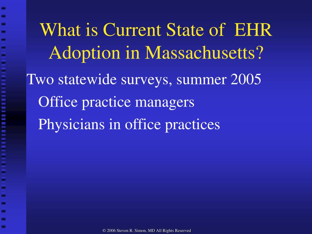 What is Current State of  EHR Adoption in Massachusetts?