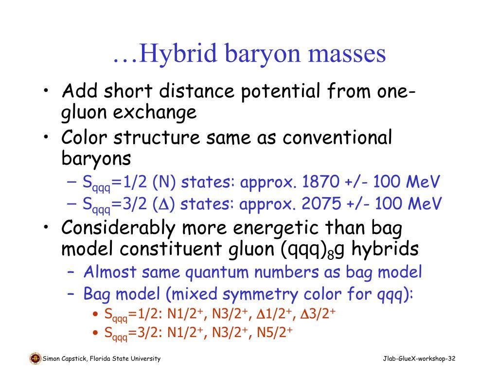 …Hybrid baryon masses