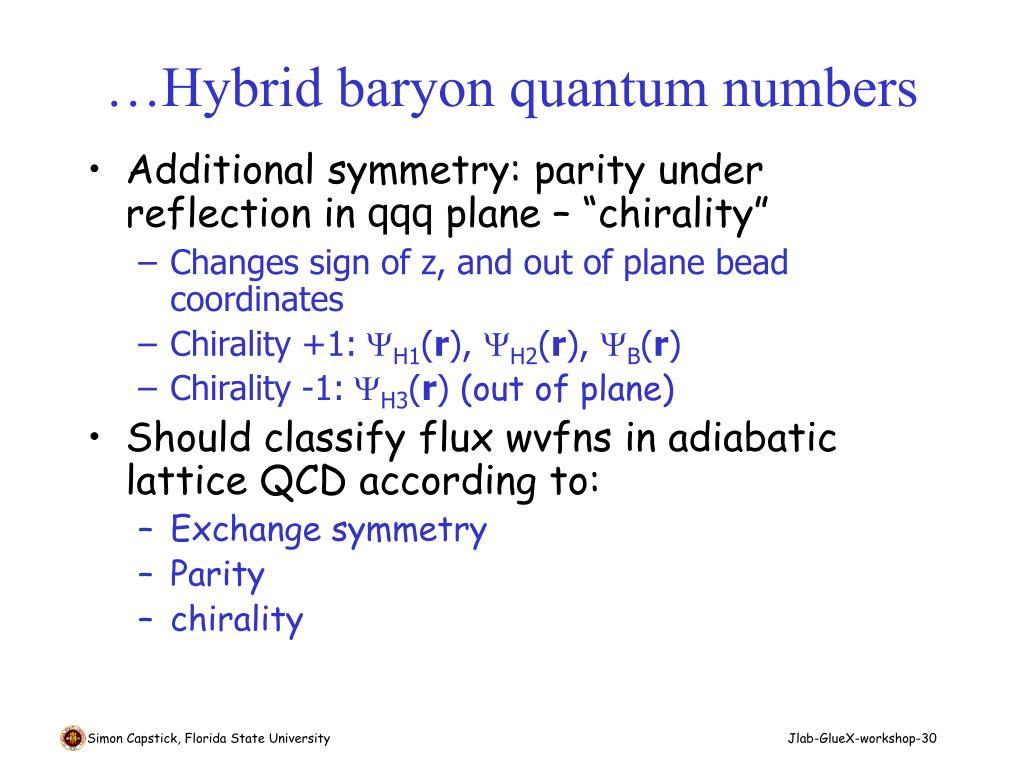 …Hybrid baryon quantum numbers