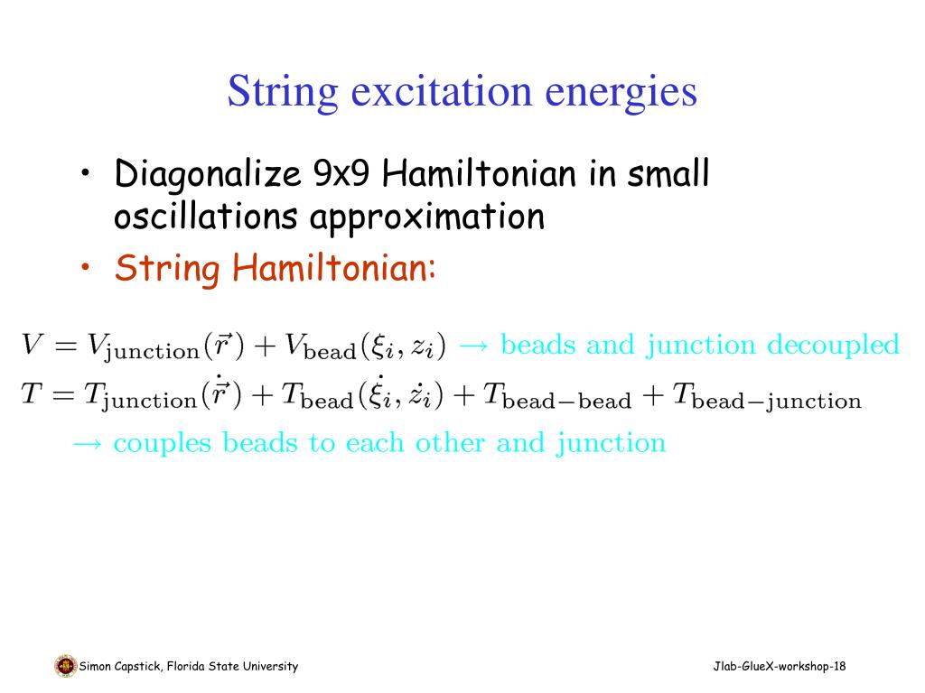 String excitation energies
