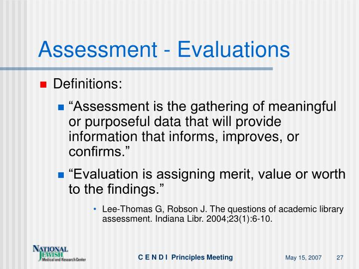 Assessment - Evaluations