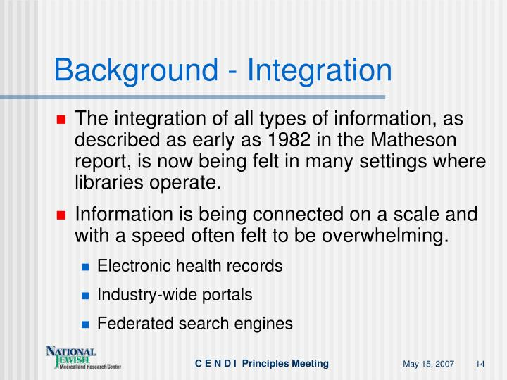 Background - Integration