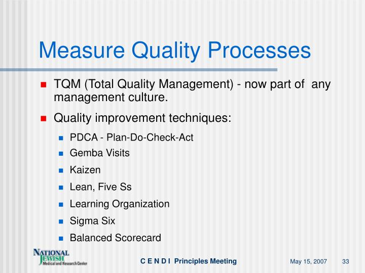 Measure Quality Processes