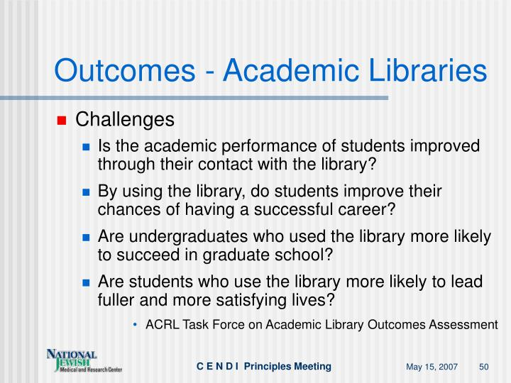 Outcomes - Academic Libraries