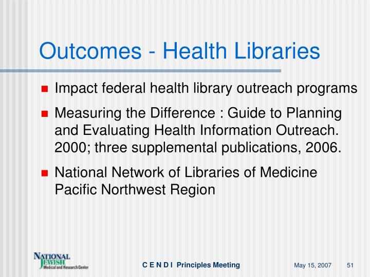 Outcomes - Health Libraries