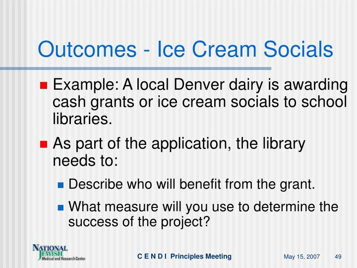 Outcomes - Ice Cream Socials