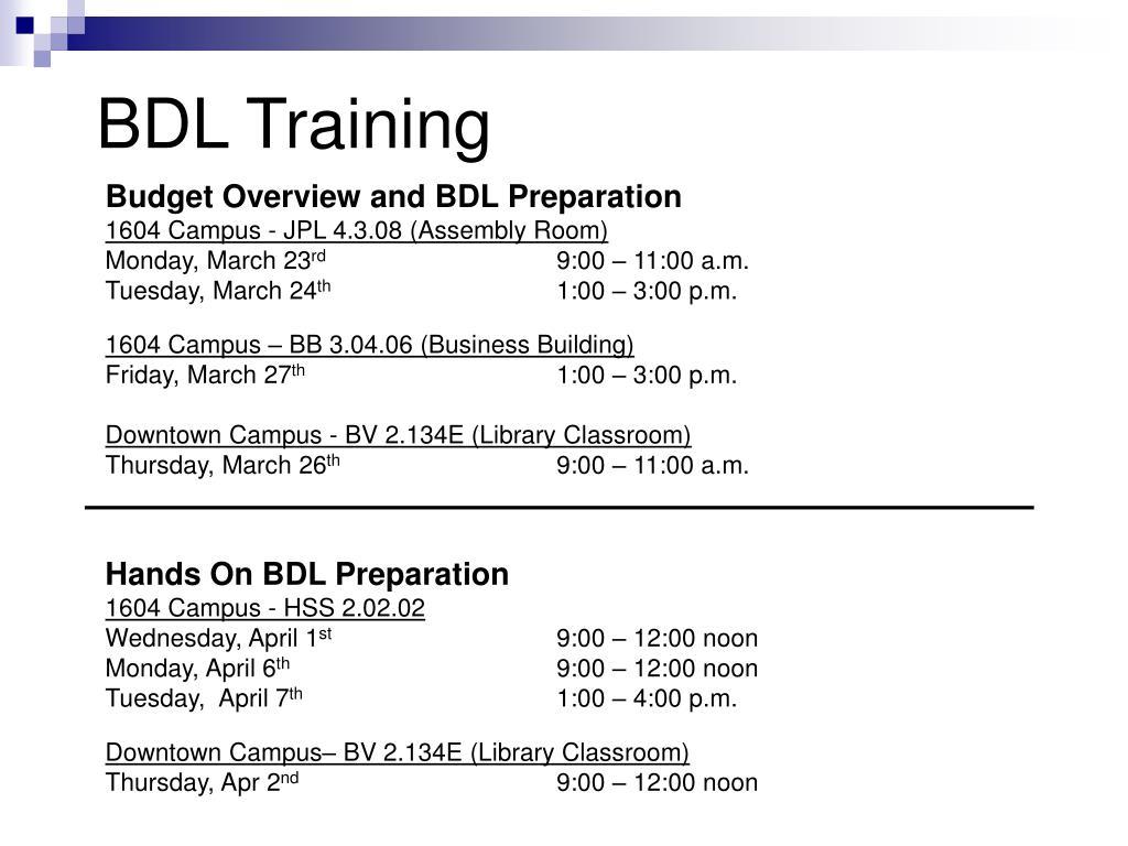 BDL Training