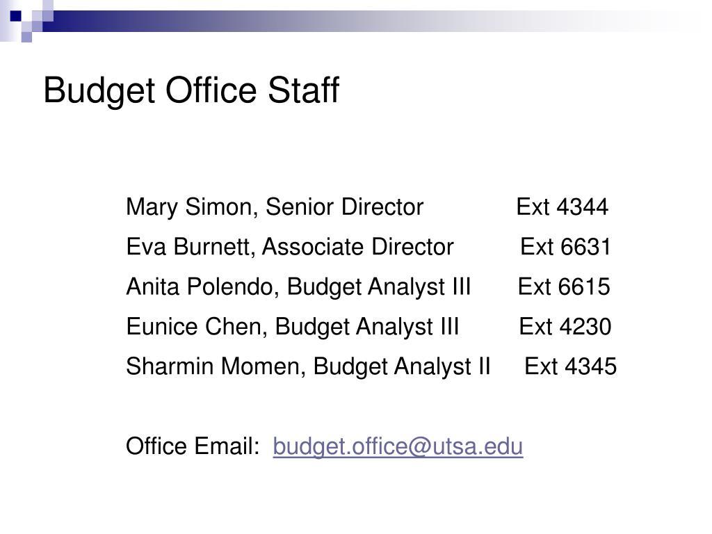 Budget Office Staff