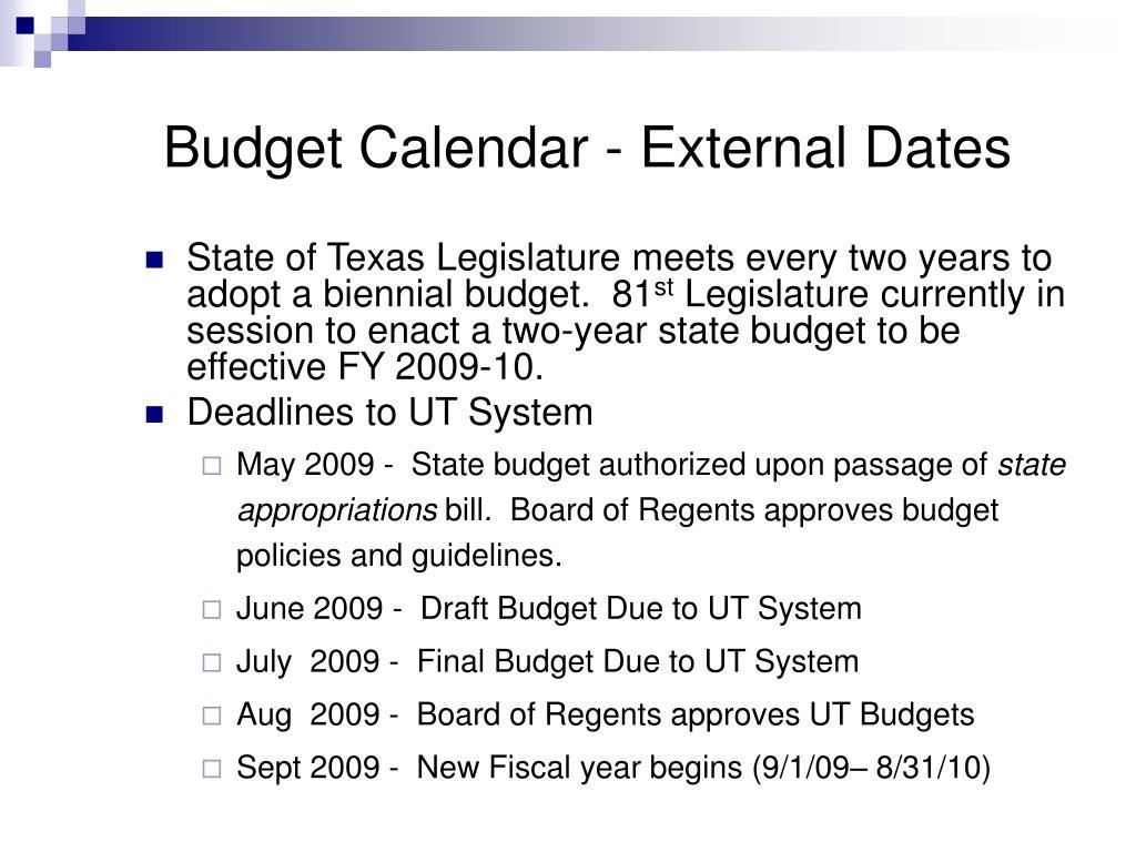 Budget Calendar - External Dates