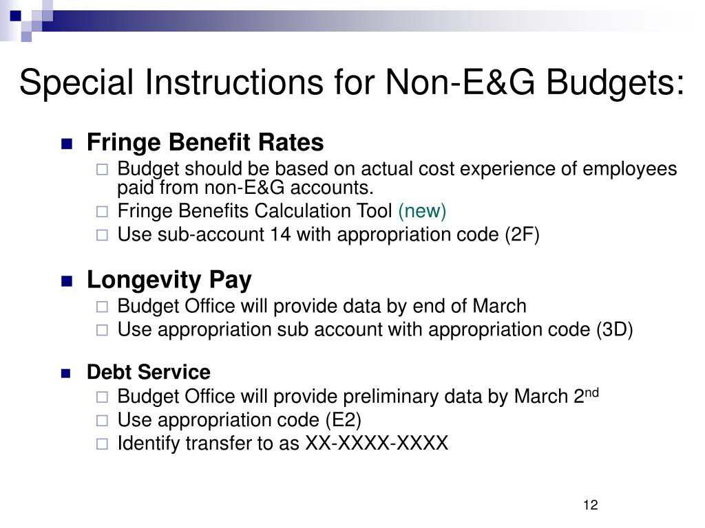Special Instructions for Non-E&G Budgets: