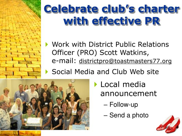 Celebrate club's charter with effective PR