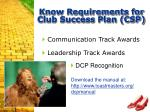 know requirements for club success plan csp