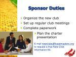 sponsor duties