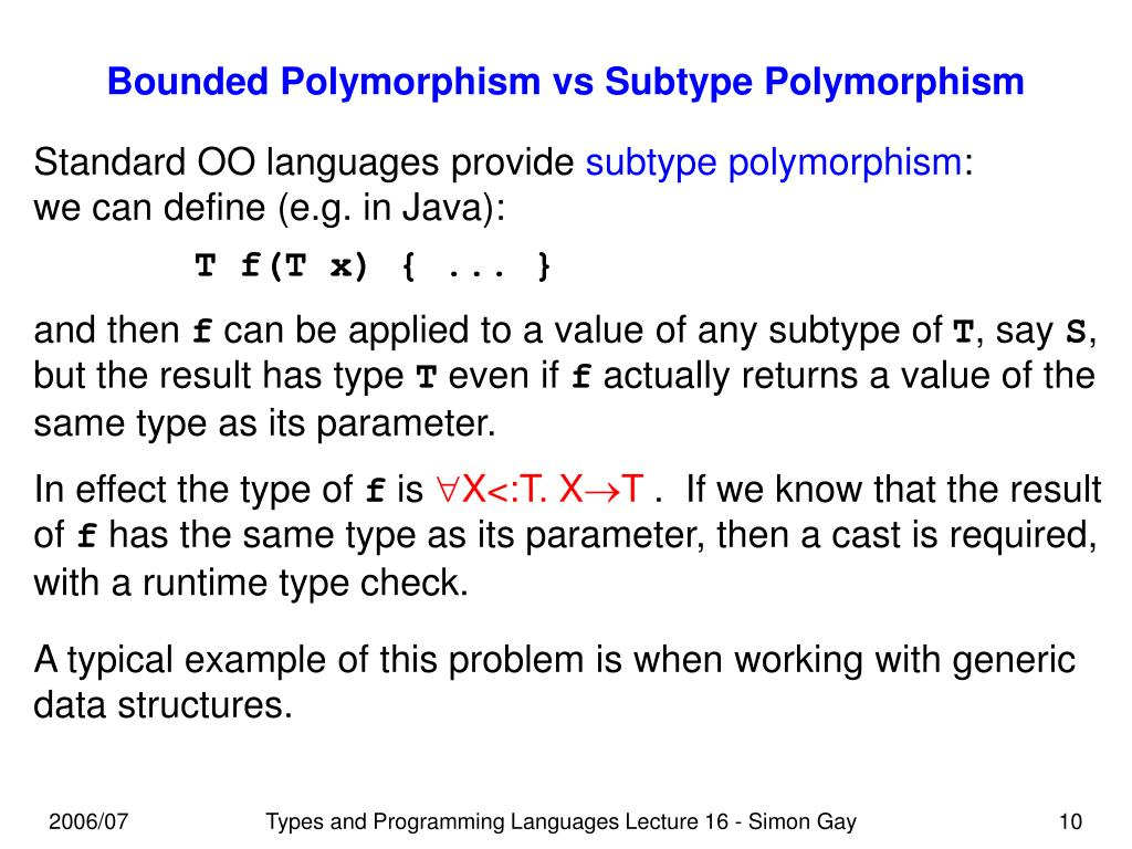 Bounded Polymorphism vs Subtype Polymorphism